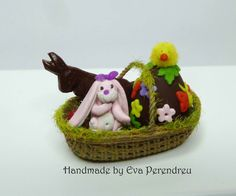 Dollhouse miniature Easter basket with chocolate eggs by Evamini, $20.00