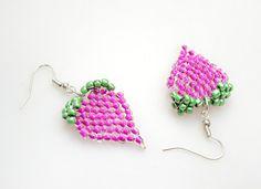 Free beaded jewelry patterns-make your own radish earrings out of Basic Brick Stitch – Pandahall