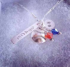Sporty Girl Name and Number Hand Stamped Personalized Necklace on Etsy, $23.00