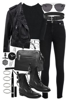 A fashion look from August 2015 featuring cropped shirts, cropped jacket and Yves Saint Laurent. Browse and shop related looks. Teen Fashion Outfits, Edgy Outfits, Mode Outfits, Grunge Outfits, Look Fashion, Winter Outfits, Autumn Fashion, Looks Black, Mode Streetwear