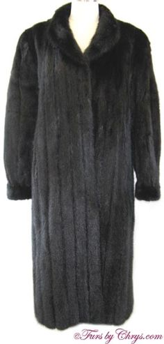 Ranch Mink Coat RM819; $1500; Excellent Condition; Size range: 10 - 14. This is a gorgeous genuine dyed ranch mink fur coat. It features a stand-up shawl collar and banded bracelet cuffs. Your purchase will be accompanied by a copy of a recent appraisal showing the retail replacement value to be $8,000. Soft, shiny and warm, this mink coat will make you look and feel like the glamorous beautiful people! When you want to own the luxury item of your dreams but don't want to break the bank! Mink Coats, Mink Fur, Fur Coat, Ranch, Shawl, Beautiful People, Cuffs, Retail, Glamour