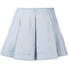 O`2nd Pleats Skirt ($295) ❤ liked on Polyvore featuring skirts, bottoms, faldas, saias, denim, pleated skirt, blue skirt, blue pleated skirt and knee length pleated skirt