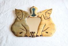 Vintage Elephant Mirror, Hand Painted Wood Mirror Wall Hanging