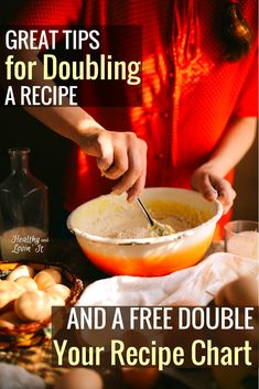 Find out how to double a recipe including how to modify cooking times and if you really need to double all ingredients in a recipe. And dont forget to print off the free printable Double a Recipe Chart. This cooking cheat sheet is an awesome kitchen hack! Clean Eating Food List, Clean Eating Recipes, Healthy Eating, Easy Cooking, Cooking Time, Cooking Hacks, Cooking Pork Roast, Cooking Turkey, Real Food Recipes