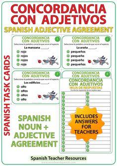 Spanish Adjective Agreement Task Cards - La concordancia de sustantivos con adjetivos - Spanish Teacher Resource