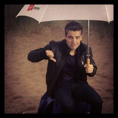 """trust it to rain when were doing the shots outside!!"" 15/8/12."