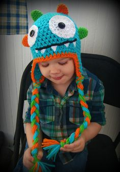 FREE SHIPPING Monster Hat-crochet baby hat-crochet hat-photography prop-babies toddlers kids-bright colorful fun choose your colors. $25.00, via Etsy.
