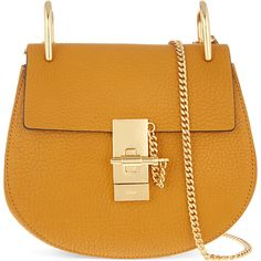 Chloé Drew Brown Mini Grained Nappa Leather Bag (€1.175) ❤ liked on Polyvore featuring bags, handbags, shoulder bags, chloe, camel, chain shoulder bag, brown shoulder bag, shoulder handbags, mini purse and kiss-lock handbags