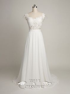 Tulle and Chantilly Custom-made Lace and Chffion Wedding Dress