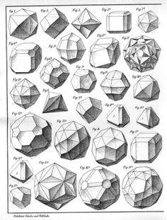 "Plates from the book: Max Bruckner, ""Vielecke und Vielflache"" (Leipzig, / Sacred Geometry Geometric Drawing, Geometric Form, Geometric Designs, Geometric Solids, Geometric Painting, Geometry Shape, Geometry Art, Sacred Geometry, Crystal Drawing"
