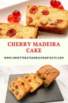 Baking Recipes Uk, Tray Bake Recipes, Baking Hacks, Dessert Cake Recipes, Desserts, Madeira Cake Recipe, Cherry Cake Recipe, Cherry Bread, Cherry Muffins