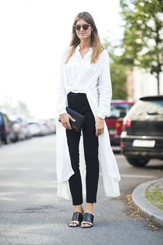 Black and white and never boring with long, fashion-forward layering tactics.