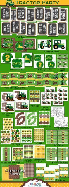 Tractor Birthday - John Deere Party Printable - Green Tractor - HUGE Printable set by Amanda's Parties To Go