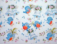 Hallmark's vintage wrapping paper, seemingly for wedding gifts. Little cute bluebirdie with lily of the valley is so adorable! ☆ホールマークのヴィンテージ包み紙。結婚祝い用のようですね。すずらんを持つ青い鳥がかわゆい!