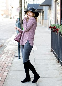 burgundy marl tunic sweater | mockneck sweater for winter | felt hat for women | suede OTK boots | over the knee boots
