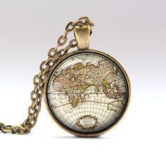 Map pendant Old map charm Antique jewelry RO926 by UKnecklace