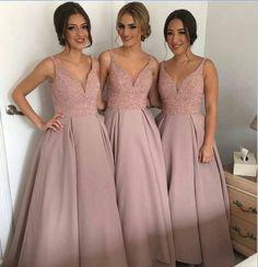 Dusty rose bridesmaid dress,long bridesmaid dress,A-line bridesmaid dress,v-neck bridesmaid dress,BD2010