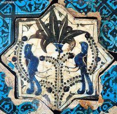 Seljuk tile life tree and birds figure A . D . 1236 Kubadabad Palace , Konya Karatay Madrasah Museum . stock photo