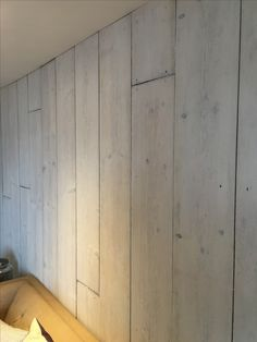 Cornwall Interiors - completed project using scaffolding boards to create a washed plank wall. Lightly washed with Little Greene 'shirting' colour. Very effective texture and depth as an end result