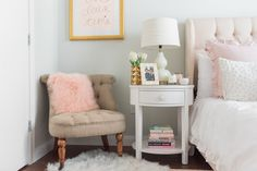 After living in NYC, I knew I wanted to create a sense of serenity in my bedroom in Chicago. Bright, airy, and feminine are words that kept coming to mind.