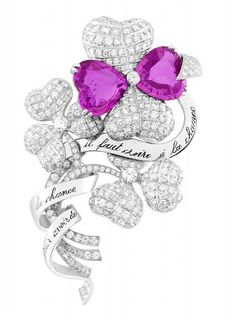 "Clip ""Clovers"" white gold, diamond and heart size 2 pink sapphires - Van Cleef & Arpels"