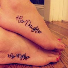 Not only is the concept great, but the font is gorgeous. #InkedMagazine #MomAndDaughter #tattoos #family #Love #tattoo #inked #ink #art #mother #daughter #lettering  #font