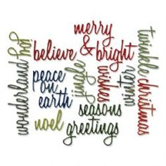 660058 Sizzix Thinlits Die Set 17PK - Holiday Words Script by Tim Holtz - Country View Crafts