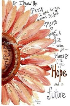 For I know the plans I have for you, declares the Lord. Plans to prosper you and not to harm you...plans to give you a future and hope.