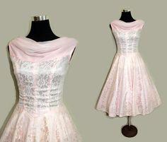 Vintage 50s Prom Dress 1950s Party Dress Pink Lace Chiffon Dress S by SissysVintage on Etsy https://www.etsy.com/listing/224369281/vintage-50s-prom-dress-1950s-party-dress