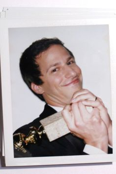 37 Backstage Polaroids From Last Night's Golden Globes Awards Andy Samberg after winning a Golden Globe Brooklyn Nine Nine Funny, Brooklyn 9 9, Movies And Series, Tv Series, Beverly Hills Hilton, Jake And Amy, Vince Gilligan, Jake Peralta, Amy Poehler