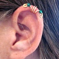 """No Piercing Ear Cuff Helix Cuff  """"Crystal Double Up"""" Handmade 1 Cuff Gold Tone Green Crystals or 16 COLOR CHOICES"""