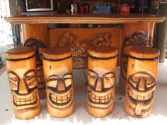 Polynesian Tiki Bar Stools