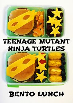 This movie character themed Bento Box will thrill your kids. Make this meal with mini corn dogs and hamburger.