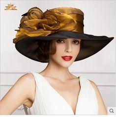 Buy 2015 Ladies Church Hats Organza Wedding Hat Handmade Flowers Women Hats Wide Brim Hats Wedding Party Accessories Custom Made For Women