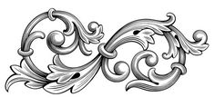 Vektor: Vintage Baroque Victorian frame border monogram floral engraved scroll ornament leaf retro flower pattern decorative design tattoo black and white filigree calligraphic vector heraldic shield swirl