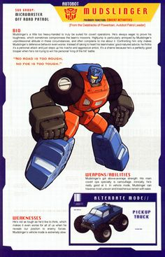 Transformer of the Day: Mudslinger Transformers Decepticons, Transformers Characters, Transformers Movie, Gi Joe, Team Mission, Transformers Generation 1, Off Road, Funny As Hell, Cartoon Pics