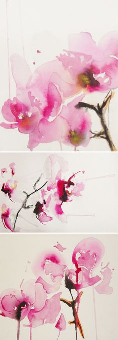 Something about these watercolor cherry blossoms is so calming and warm. Great inspiration for something light, like a fragrance packaging -Karin Johannesson Beautiful Flower Illustration Art Aquarelle, Art Watercolor, Watercolor Flowers, Drawing Flowers, Chiaroscuro, Love Art, Painting & Drawing, Amazing Art, Contemporary Art