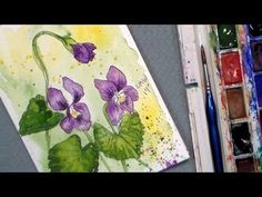 The Frugal Crafter Watercolor Tutorials on YouTube - Wild Violets in Watercolor with Pen  Ink