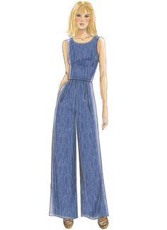 B6351 Open-Back, Tulip-Detail Dresses and Jumpsuit