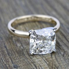This beautiful Yellow Gold Comfort-Fit Cushion Cut Solitaire Engagement Ring features a Carat center stone! Popular Engagement Rings, Engagement Rings Round, Beautiful Engagement Rings, Designer Engagement Rings, Rose Gold Engagement Ring, Vintage Engagement Rings, Beautiful Rings, Solitaire Engagement, Solitaire Rings