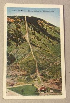 MT. MANITOU SCENIC INCLINE RAILWAY CO vintage linen postcard - HHTCO c.1954
