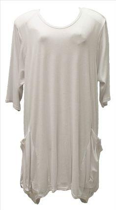 AKH Fashion Lagenlook Tunika mit großen Taschen in weiß XL Mode bei www.modeolymp.lafeo.de