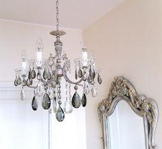Vintage repurposed crystal  chandelier  clear drops by LorellaDia, $320.00