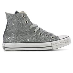 Silver Leather Sneakers ($120) ❤ liked on Polyvore featuring shoes, sneakers, silver, gray sneakers, gray shoes, rubber sole shoes, silver glitter shoes and silver shoes