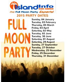 ISLAND INFO -FULL MOON PARTY DATES 2015