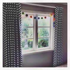 Girls like blue too! Drapery, Curtains, Zig Zag, Window Treatments, Chevron, Stripes, Girls, Blue, Home Decor