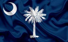 Download imagens Carolina Do Sul Bandeira Do Estado, bandeiras dos Estados, bandeira do Estado da Carolina do Sul, EUA, estado da Carolina do Sul, de seda azul da bandeira, Carolina do sul brasão de armas