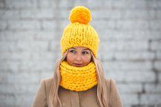 Knitwear set - handmade / merino wool #winter #mustard #yellow #hat #girl #fashion #outfit #2016 #2017 #trendy #handknitted #handmade #wool #woolen #chunky #extra #big #merino #fluffy #scarf #snood