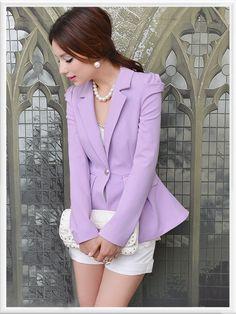 Morpheus Boutique  - Purple Pleated Shoulder Long Sleeve Hem Jacket