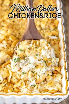 Million Dollar Chicken & Rice Casserole - This is our go-to chicken casserole! SO easy to make and tastes like a million bucks! Chicken, rice, cream cheese, cottage cheese, sour cream, onion, garlic, cream of chicken soup, topped with crushed Ritz crackers and butter. Can make this casserole in advance and refrigerate or freeze for later. #chicken #casserole #chickencasserole #ritzcrackers Chicken Rice Casserole, Bean Casserole, Casserole Recipes, Casserole Dishes, Pierogi Casserole, Broccoli Recipes, Chicken Recipes, Meat Recipes, Dinner Recipes
